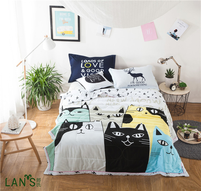 100 Washable Cotton Summer Quilts With Pillowcases Cartoon Cat Printed Duvets Thin Blankets Bedspreads Comforters