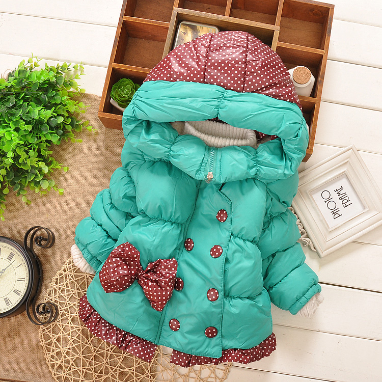 New Baby Girls Winter Jacket Kids Big Bow Design Cotton Warm Coat Children Lovely Long Style Outerwear Clothing In Sotck good quality children winter outerwear 2016 girls cotton padded jacket long style warm thickening kids outdoor snow proof coat