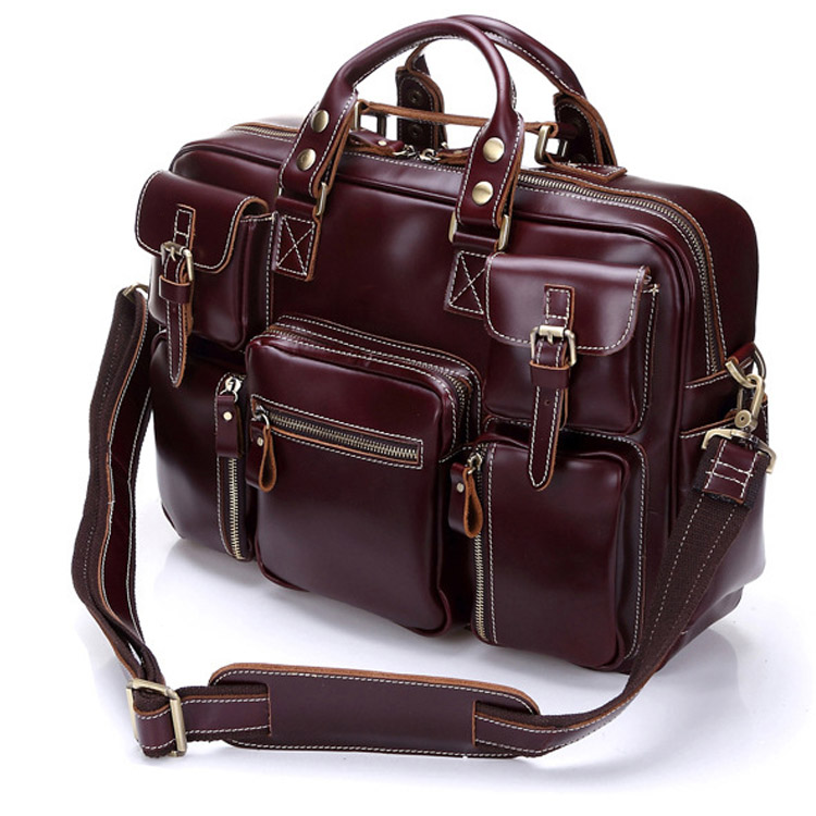 Large Capacity Briefcase Man Office Business Trip Travel Abroad fit 15 PC Clothes Books Front Pockets 2 Colors Real LeatherLarge Capacity Briefcase Man Office Business Trip Travel Abroad fit 15 PC Clothes Books Front Pockets 2 Colors Real Leather
