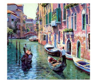 Urijk Unframed Venice Resorts Seascape DIY By Numbers Handpainted Oil Painting Living Room Home Wall Decor