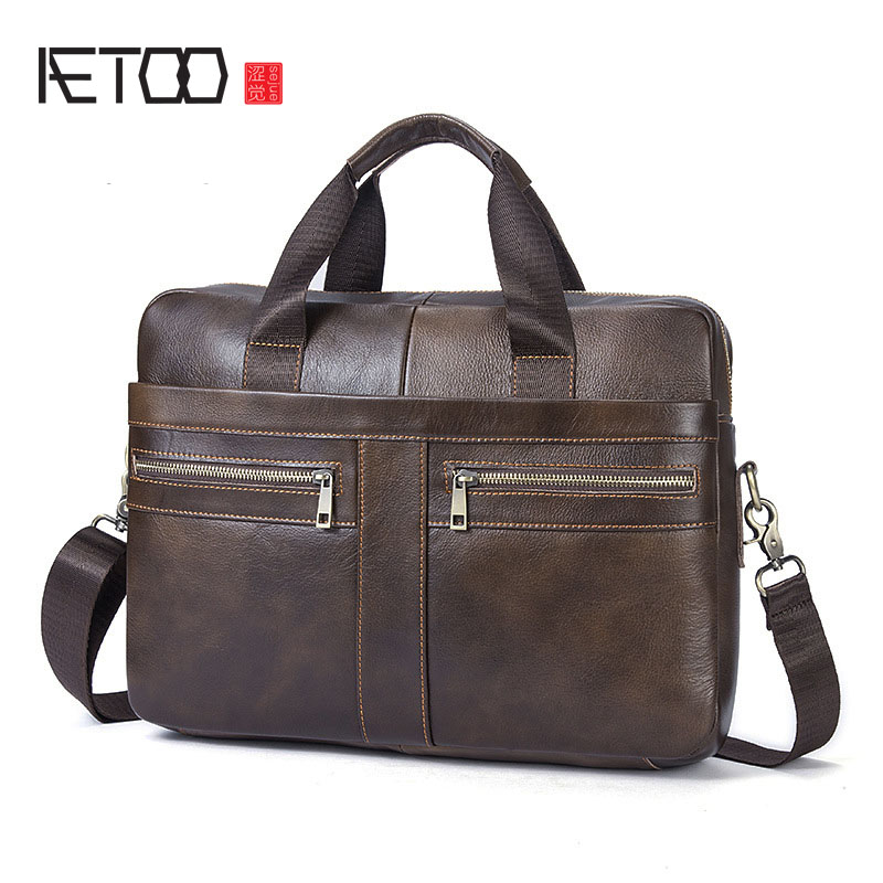 AETOO Genuine Leather Bag Men Bag Cowhide Men Crossbody Bags Men's Travel Shoulder Bags Tote Laptop Briefcases Handbags contact s genuine leather men bag casual handbags cowhide crossbody bags men s travel bags tote laptop briefcases men bag new