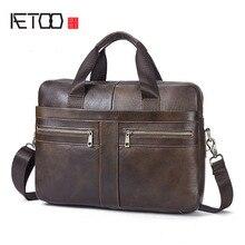 AETOO Echtem Leder Tasche Mann Bag Rindsleder Männer Crossbody herren Reisetaschen Umhängetaschen Tote Laptop Aktentaschen Handtaschen