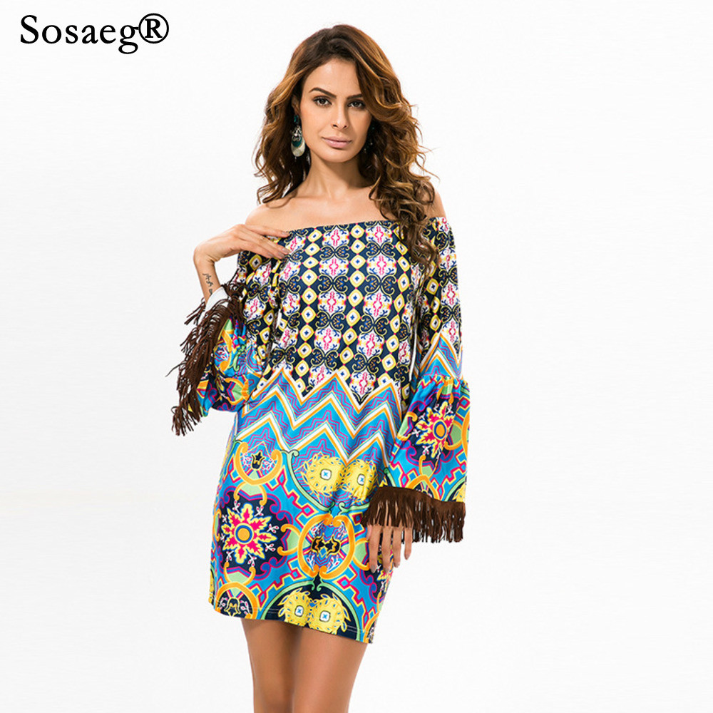 078bac6a747f Sosaeg Thailand Romantic Beach party Dress vintage Girls and plus size women  clothing summer print casual dresses sexy bohemian-in Dresses from Women s  ...