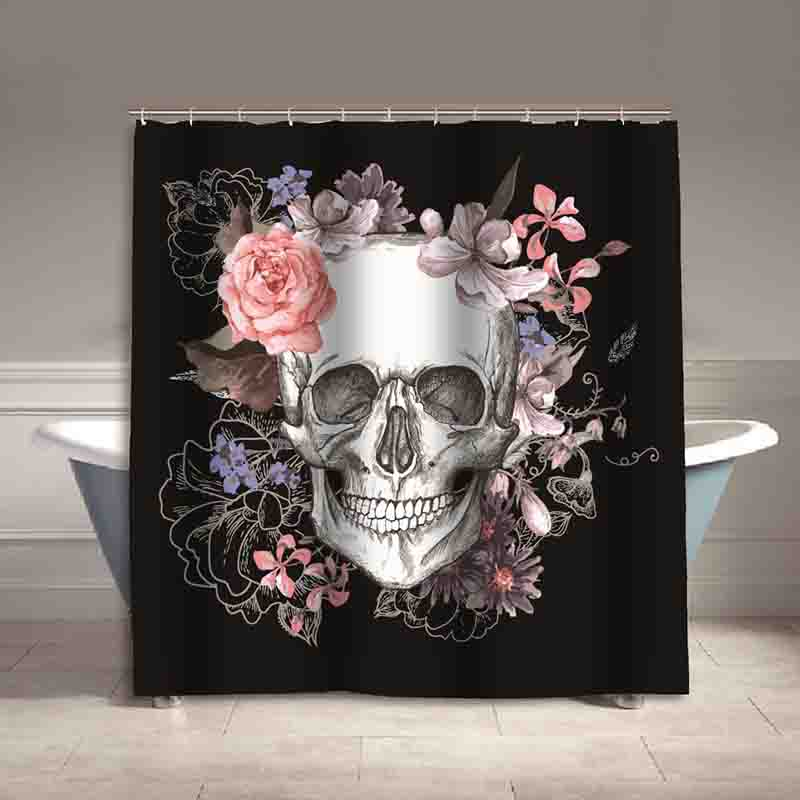 High Quality Skull Eco-friendly Polyester waterproof bathroom shower curtain Europe Style Bath Curtain With Hooks