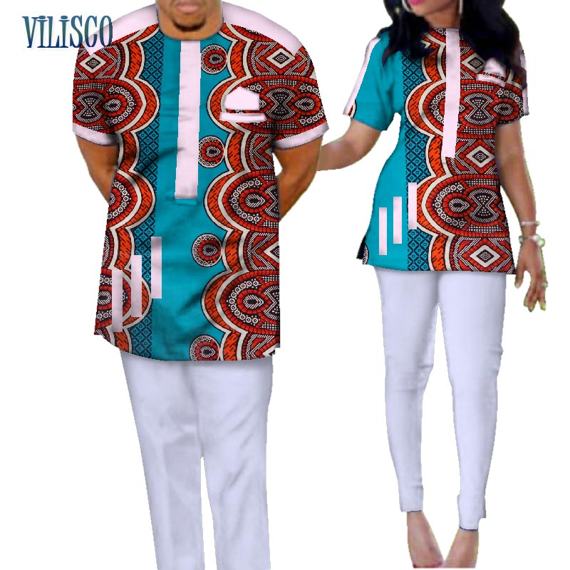Traditional Bazin Riche African Print Patchwork Top and Pants Sets for Couple Clothing 2 Pieces Sets