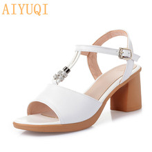 купить AIYUQI  Sandals women summer 2019 new women sandals genuine leather peep toe roman sandals high heels fashion footwear women по цене 1772 рублей