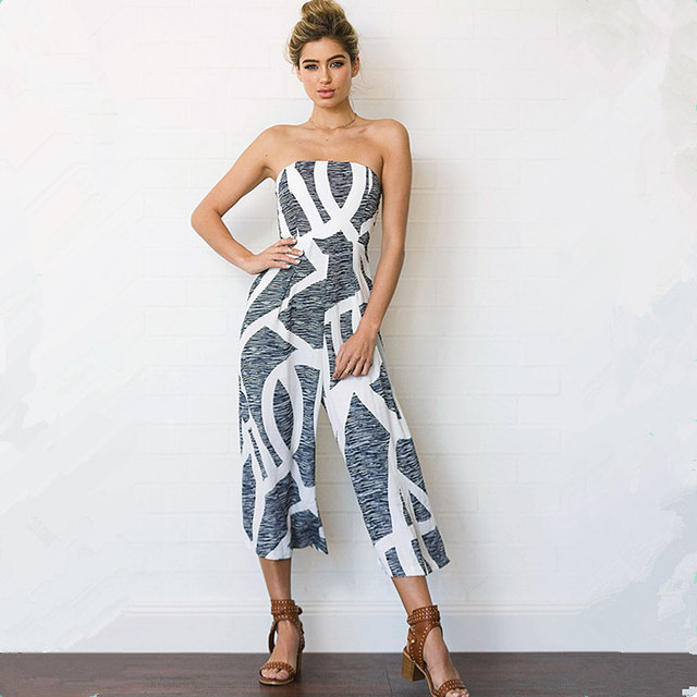 25b2337205 2017 Hot SellPrint Siamese Wide Leg Pants Women s Crop Top Jumpsuits Tutine  Estive Donna Bodi Formal Women Summer Jumpsuit
