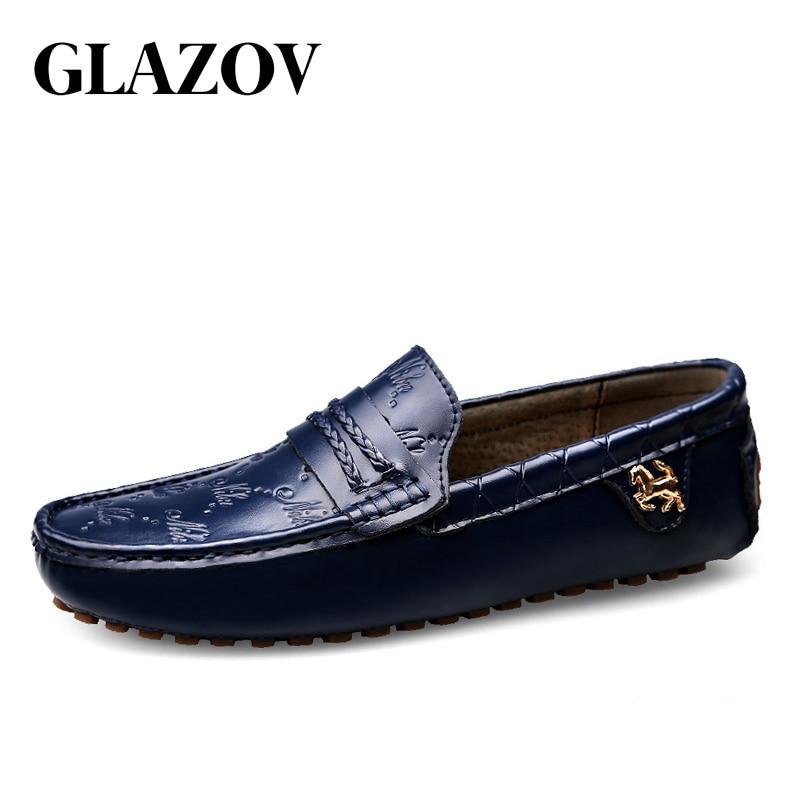GLAZOV de gran tamaño 37 ~ 49 de los hombres de cuero genuino de alta calidad zapatos de mocasines de los hombres de la marca de moda Zapatos cómodos planos zapatos de conducción zapatos