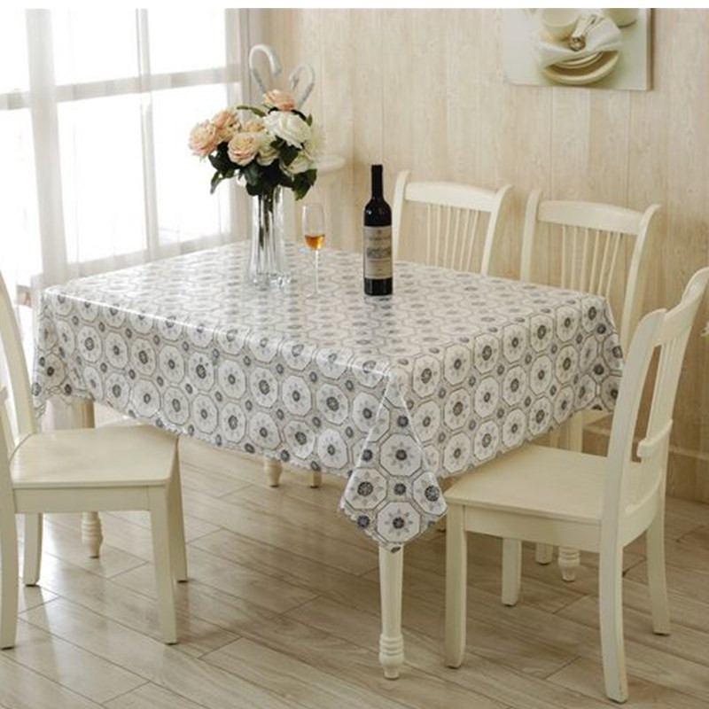 European Transparent PVC Table Cloth Waterproof Dinner Table Decor Round  Tablecloth 130X130cm Plastic Table Cover