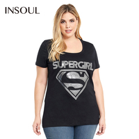 INSOUL Plus Size Hot Summer Women Clothing O Neck Short Sleeve Female T Shirts Casual Letter