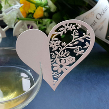 Event Party Supplies 20pcs/set Love Heart Blank Name Place Table Card Wine Glass Wedding Event Laser Cut Flower decoupage