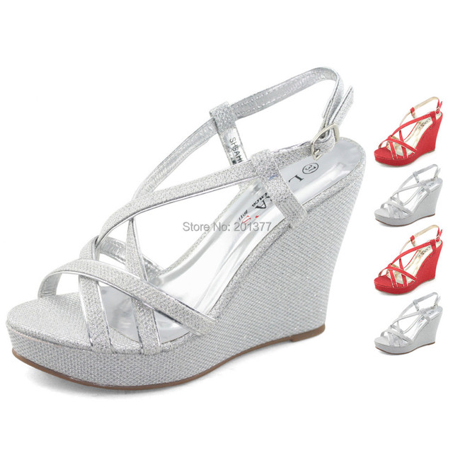 LARAs Sparkly Bling Wedges Sandals High Platform Heels Sandle Slingback Strappy Silver Red Glitter Wedding Shoes