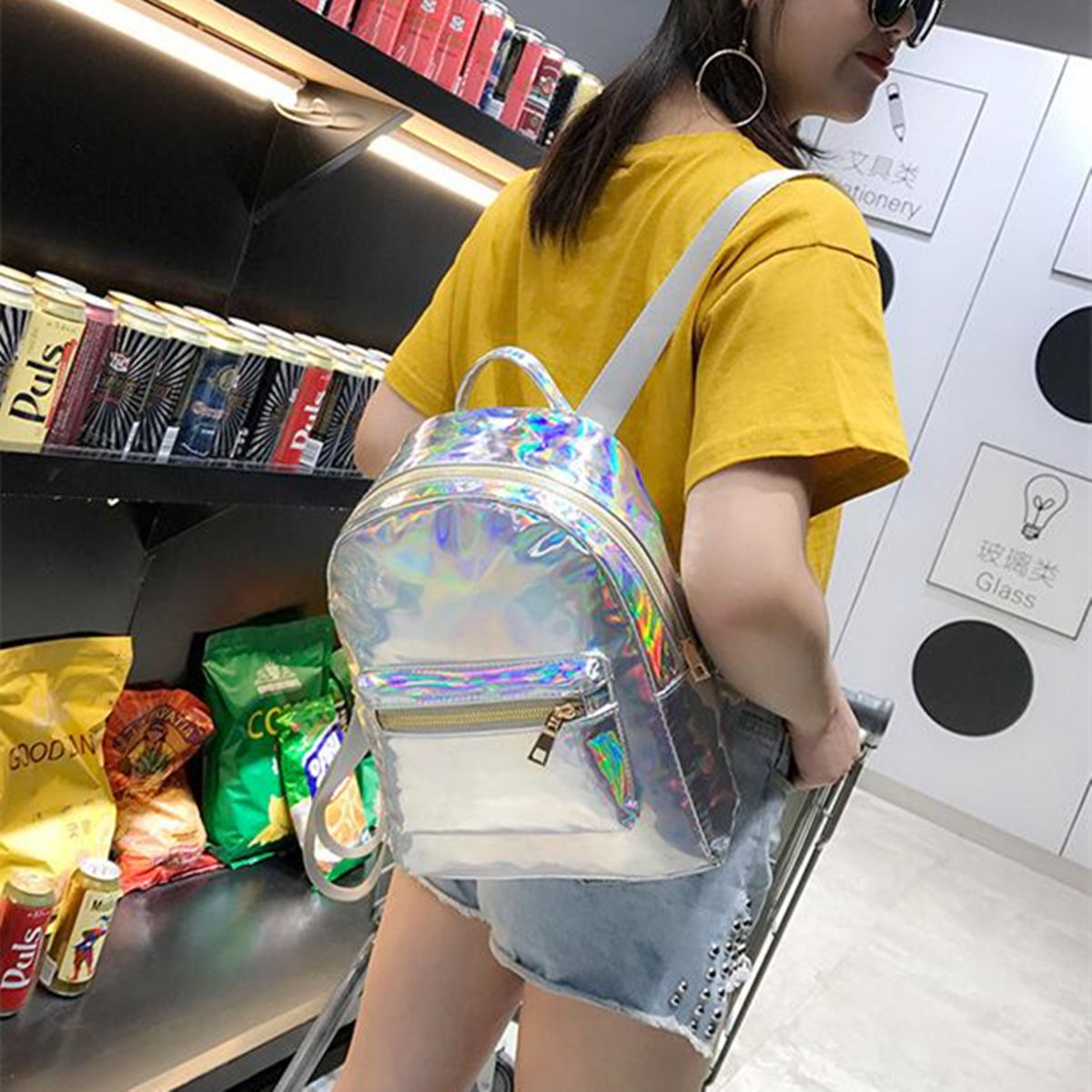 Silver Gold Pink Laser Backpack Women Girls Bag Leather Holographic Backpack   School Bags For Teenage Girls #4