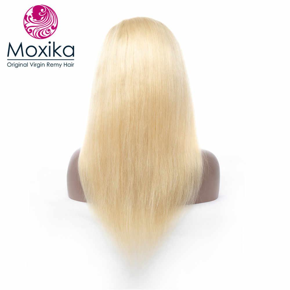 Моксика блонд 613 полный кружевной передний парик человеческих волос с детскими волосами предварительно сорвал Remy бразильские прямые волосы полный парик шнурка