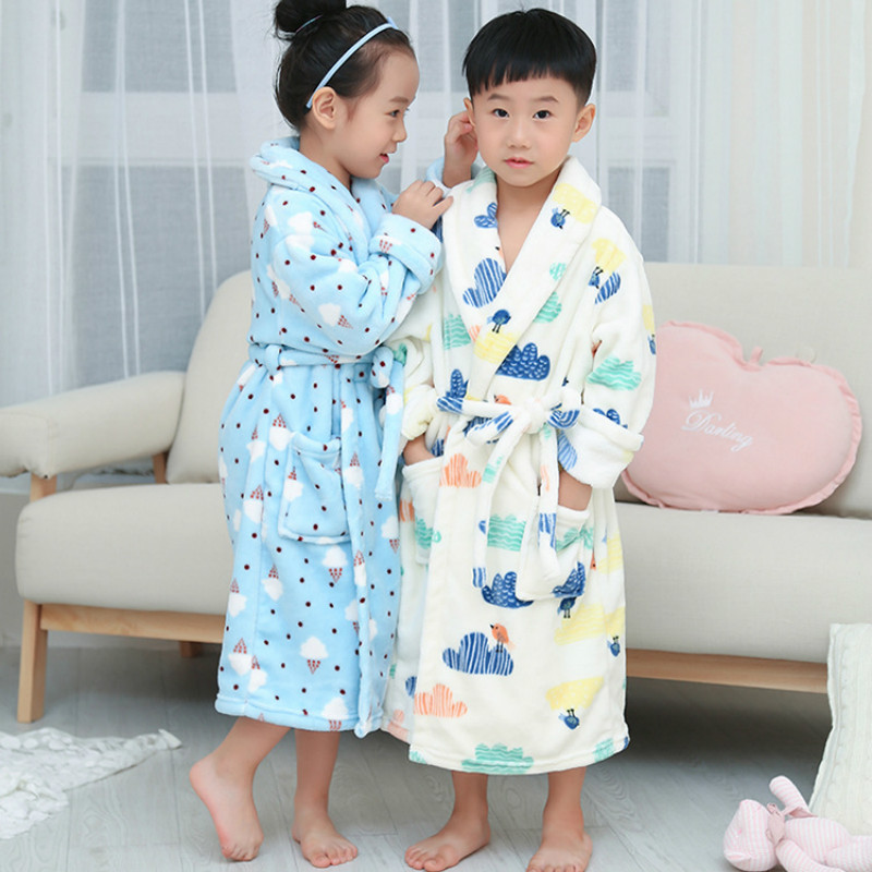 Kids Robes Boys Pajamas Kids Clothing sets Girls flannel gown Thicken Coral fleece sleepwear Winter bathrobe Coral velvet robe стоимость