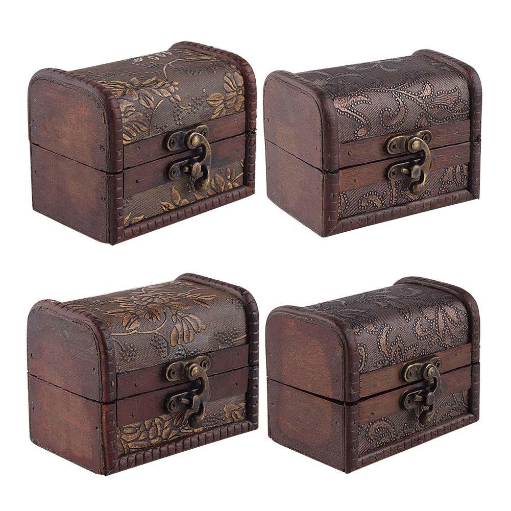 Stylish Vintage Metal Lock Jewelry Treasure Chest Case Manual Wood Box Storage Flower Home Hotel In Bo Bins