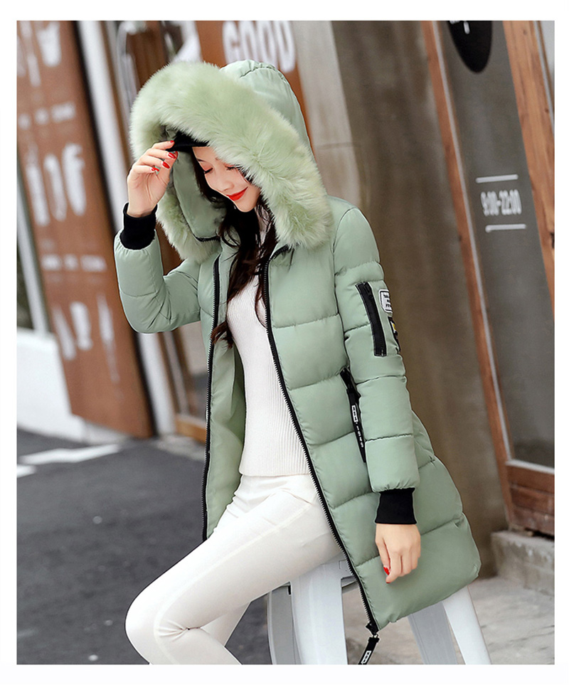 Women Winter Jackets and Coats 2018 Casual Long Sleeve Big Fur Collar Down Coat Female Loose Warm Hooded Parkas Plus Size