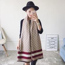 2018 Autumn Winter Women Diamond Lattice Striped Cashmere Scarf Ladies Elegant Long Warm Shawl Double sided Large Pashmina