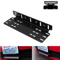Universal 37cm Aluminum Auto Front Bumper License Light Lamp Plate Holder Mount Bracket Black