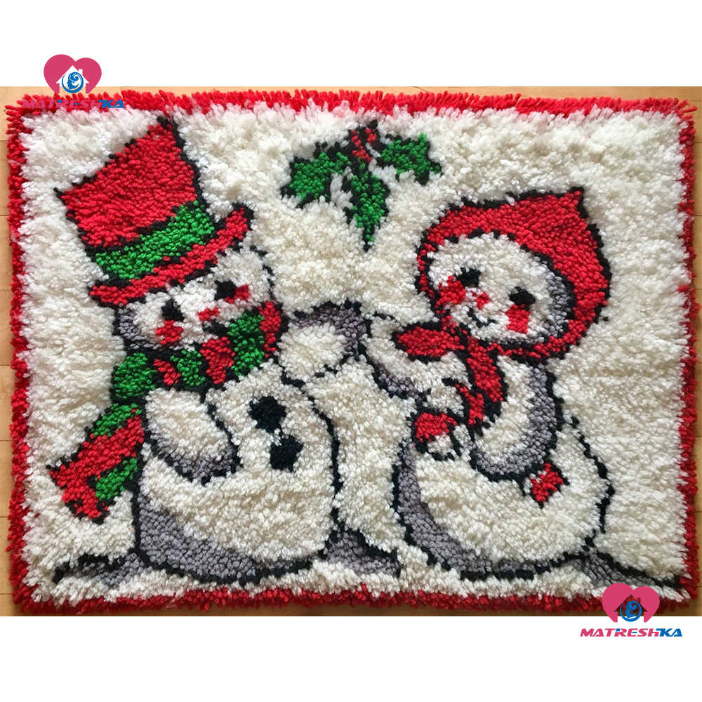 3D Latch Hook Kits Rug,with Printed Canvas,Christmas Decor Carpet Embroidery Tapestry Cross Stitch Kit DIY Handmade Rug Cushion