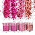4 UNIDS 10 ml Rosa Polvo Fino Brillo Del Clavo Nailart Holográfica Glitter Polvo del Polvo de Uñas Lentejuelas Ronda Glitter Pulver SF0020