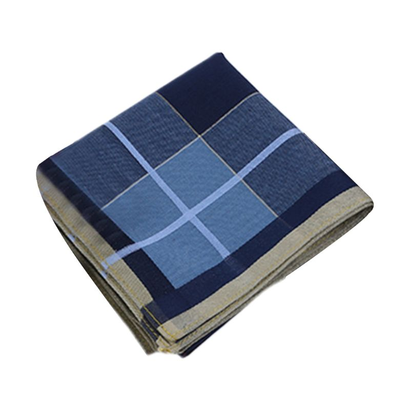 43x43cm Men Vintage Plaid Striped Cotton Handkerchief Deep Color Pocket Square Hanky Luxury Chest Towel Prom Wedding Party Gift