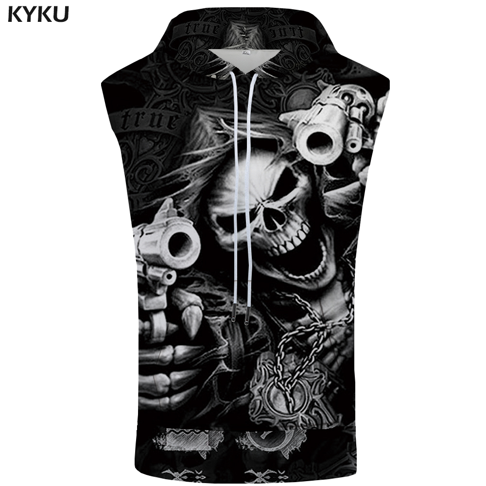 125432d59 KYKU Brand Skull Sleeveless Hoodie Hip Hop Coat Punk Shirt Rock  Bodybuilding Gun Sweatshirt Vest Mens