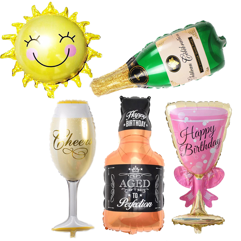 5pcs Birthday Balloons Cheer Cup/Whisky /Beer/Champagne Helium Foil Ballons Anniversary Hen Night Party Wedding Decor Air balls