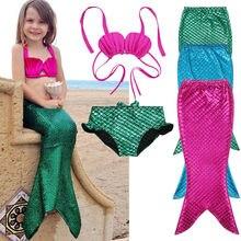 Лидер продаж, детский хвост маленькой русалки, комплект бикини для плавания, купальный костюм, одежда