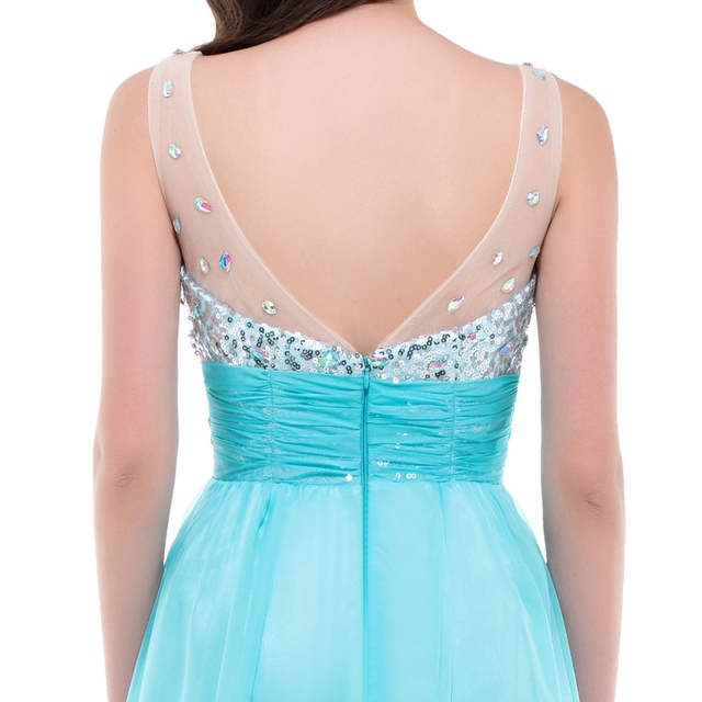 Grace Karin Sexy Backless Evening Dresses 2018 Women long White Formal  Dress Party Gowns Rhinestones Blue 47791acdbc63