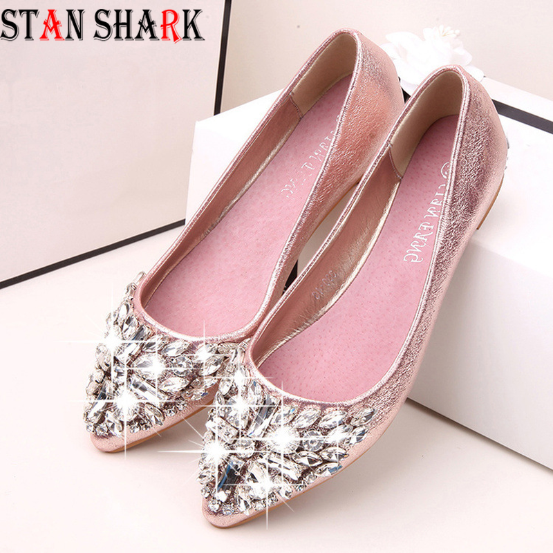 2019 New Women Ballet Shoes Leisure Spring Pointy Ballerina Bling Rhinestone Flats Shoes Princess Shiny Crystal Wedding Shoes