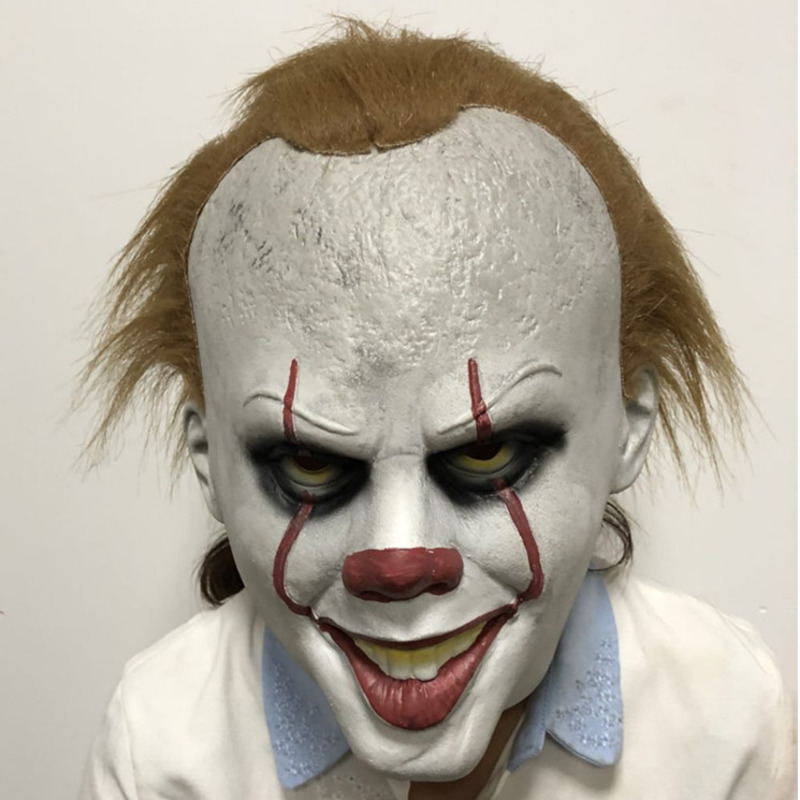 new Latex Movie Stephen King's It Pennywise Clown Joker Costume Party Masks Full Head Hair BALL Halloween Cosplay Mask