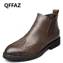 QFFAZ Winter Ankle Boot Autumn Men's Motorcycle Boots Men Boots fashion shoes 2018 Zipper Outdoor mens shoes casual