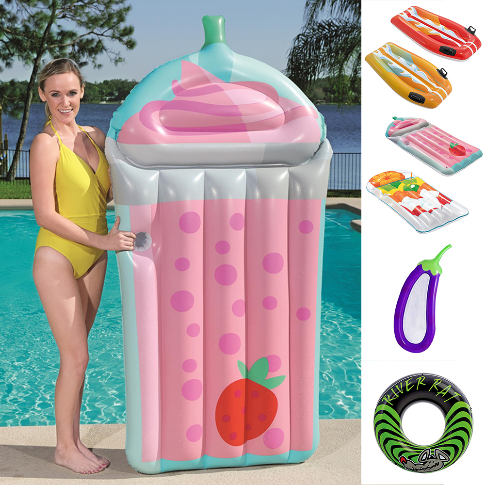 Large Size Kids Inflatable Swimming Float Baby Adult Strawberry Swimming Pool Bed Toy Beach Bathing Party Decoration Safety