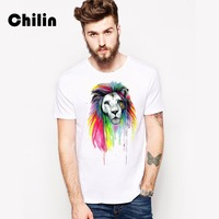 Chilin T Shirts Men 2017 Fashion Brand Clothing Mens T Shirt Tops Abstract Painting Indian Lion