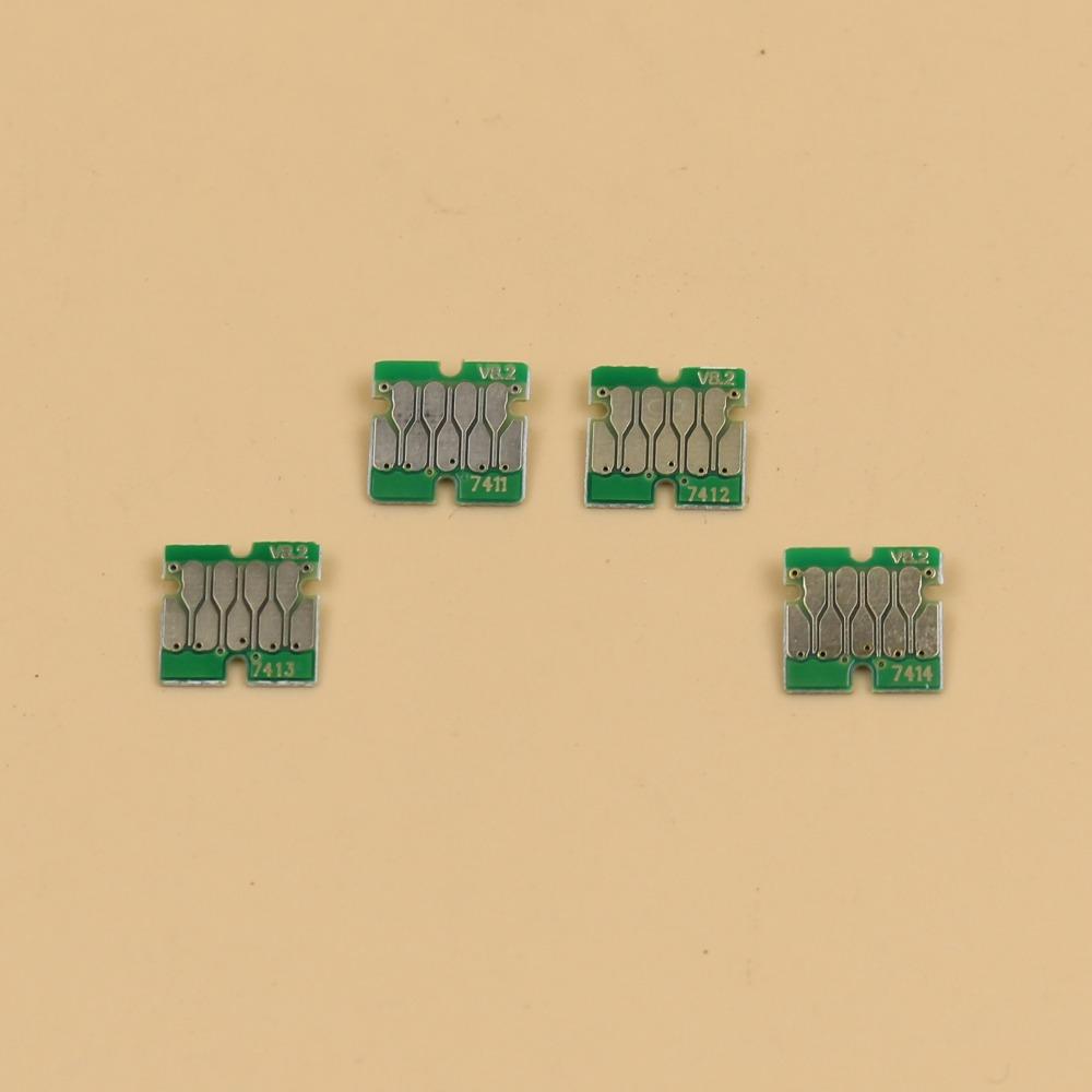 Prix pour 10 ensembles 40 pcs Stable qualité F6070 d'encre cartouches puces pour Epson Surecolor F6070 F6000 ink réservoir puces T7411-T7414 V8.2