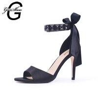 Women Sandals High Heels Shoes Strap Sandals Summer Women Shoes Black Satin Party Shoes For Women