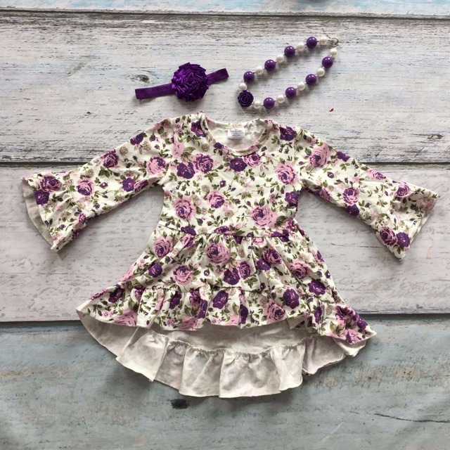2016 girls clothes baby kids clothing cotton Fall Winter ruffles purple floral dress boutique flare sleeve matching bow necklace