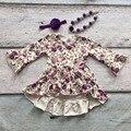 2016 roupa das meninas do bebê crianças roupas de algodão outono inverno babados vestido floral roxo boutique flare luva matching colar de arco