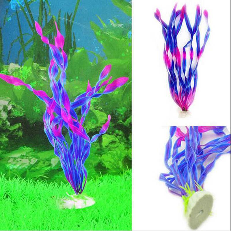 35 سنتيمتر تحت الماء الاصطناعي النباتات المائية الحلي حوض السمك النباتات العشب المياه النباتية خزان الأسماك البلاستيك الديكور