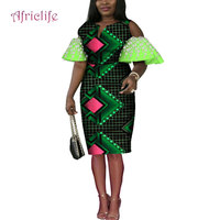 New Fashion Africa Print Knee Skirts Dresses Women Gender and Adults Age Group African Skirt Flare Sleeve Women Clothes WY4579