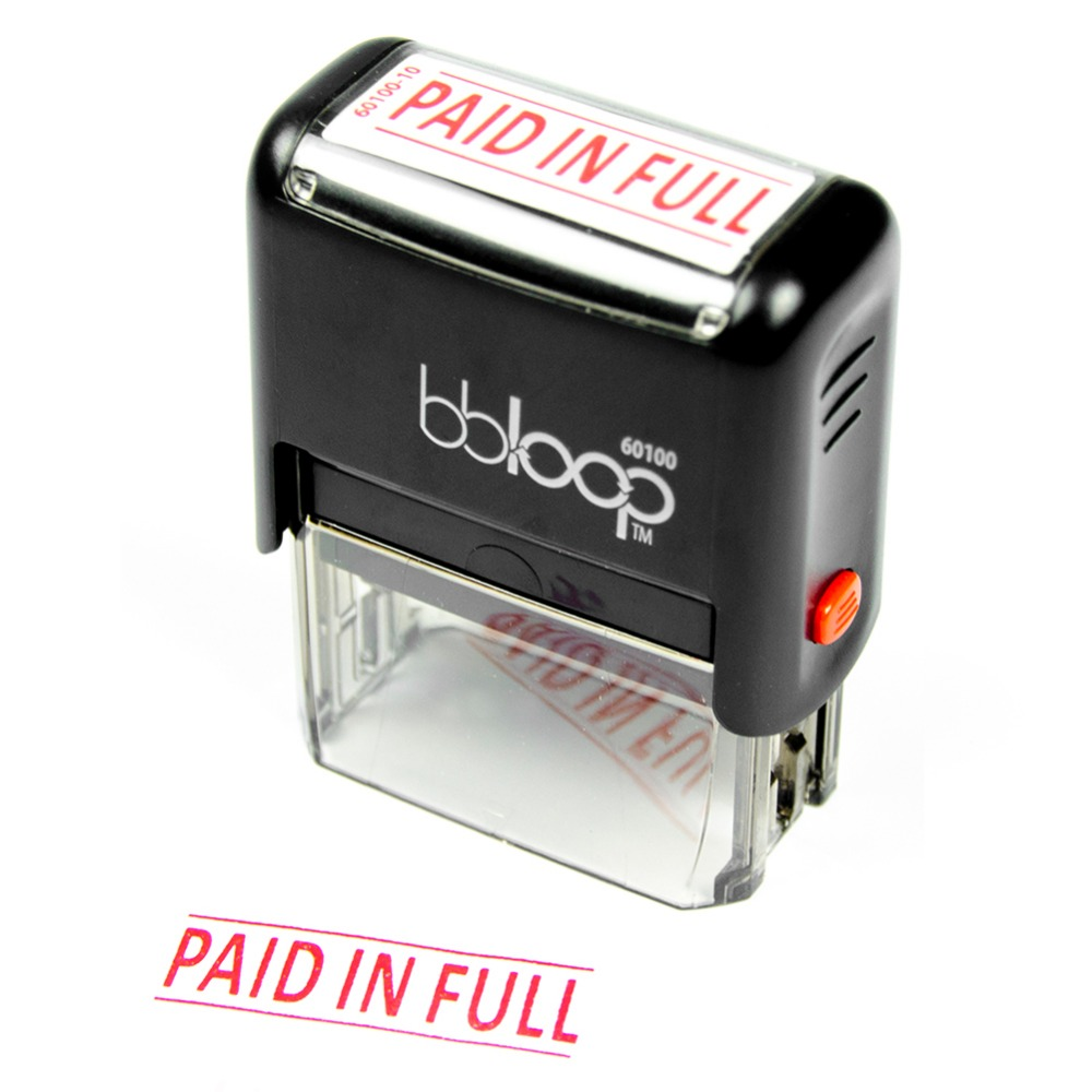 BBloop Stamp PAID IN FULL Self-Inking Stamp Rectangular, Laser Engraved. RED 10 digit 9 wheels gray light blue rubber band self inking numbering stamp