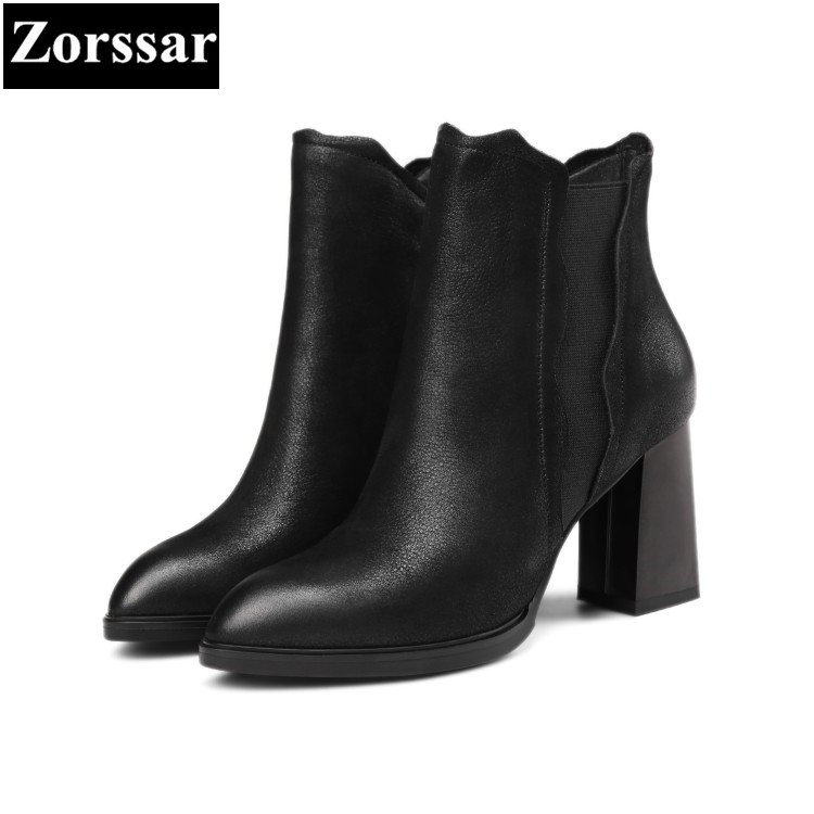 {Zorssar} 2018 Large size Women shoes Thick heel pointed Toe High heels ankle Riding boots fashion leather womens boots winter 2015 new design womens wedges heels pumps fashion pointed toe wood heel single shoes large size thick heels ladies shoes 34 43