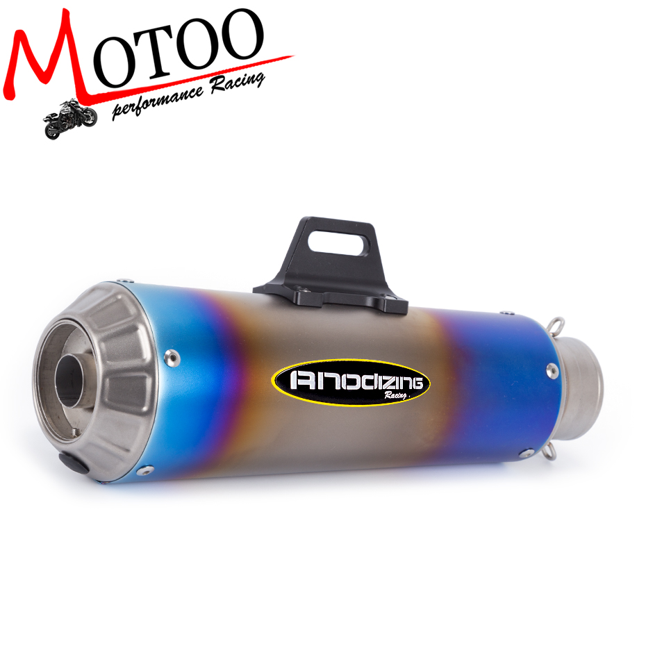 Motoo - free shipping 61MM stainless steel Universal Escape Moto Motorcycle Motorcross Scooter Exhaust Pipe Muffler