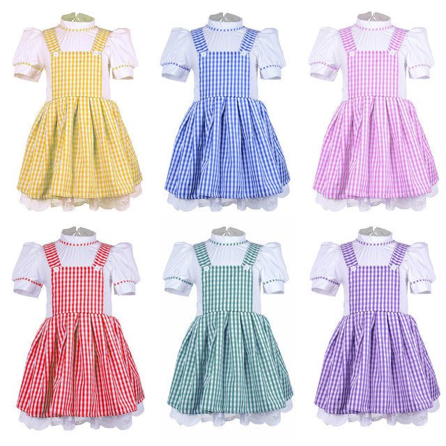 5cd6257346b2 Kids Girls Gingham Dresses Vintage Plaid Strappy Suspender Skirt Fluffy  Dress Dance Tutu Underskirt 50s Costume