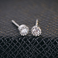 GZ 925 Silver Stud Earring Women White Purple Crystal Cubic 100% S925 Sterling Silver boucle d'oreille Round Earrings Jewelry
