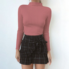Hot Sale Pink Crop Tops Black Bodycon Women Sweaters Turtleneck Pullovers Sexy Knitwear Korean Sweater Winter Clothes Christmas