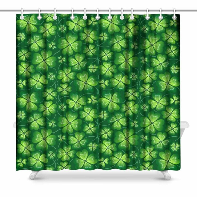 Aplysia Dark Green St Patricks Day Fabric Bathroom Shower Curtain Set 72 X Inches Extra Long