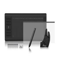 Huion 1060 плюс графический рисунок цифровой планшетный w/Card Reader 8 г SD карты 5080 LPI 12 Express Ключ + Защитная пленка + Parblo перчатки