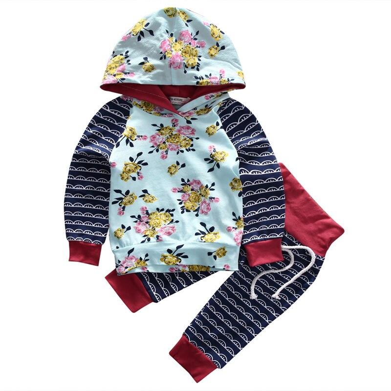 Fancy Hot Sale Toddler Baby Boy Girl Infant Vintage Costume Hooded Tops Flower Long Sleeve T-shirt Floral Pant Graceful 2pcs Set